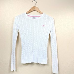 Lilly Pulitzer White Cotton Cableknit Sweater